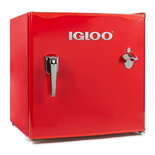 Igloo IRF16RSRD Classic Single Door Chrome Handle & Bottle Opener Compact Refrigerator with Freezer, Slide out Glass Shelf, Perfect for Homes, Offices, Dorms, 1.6 Cu.Ft, Red