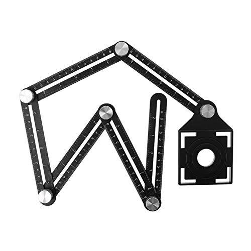 6 Posicionamiento plegable del agujero del azulejo de la regla Multi plantilla Ángulo reglas con guía de perforación para la carpintería Puncher Herramienta de medición (Color : Black)