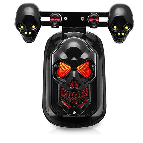 Price comparison product image Black Motorcycle Skull Brake Stop Tail Lamp Integrated Turn Signal Light For Harley Honda Kawasaki Suzuki Yamaha Custom