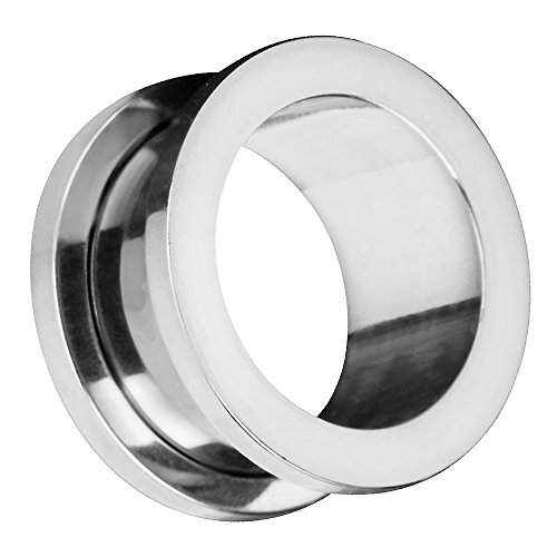 Piersando Flesh Tunnel Ohr Plug Piercing Farbige Ohrpiercing Schraub Edelstahl Ohrtunnel Creole 12mm Silber