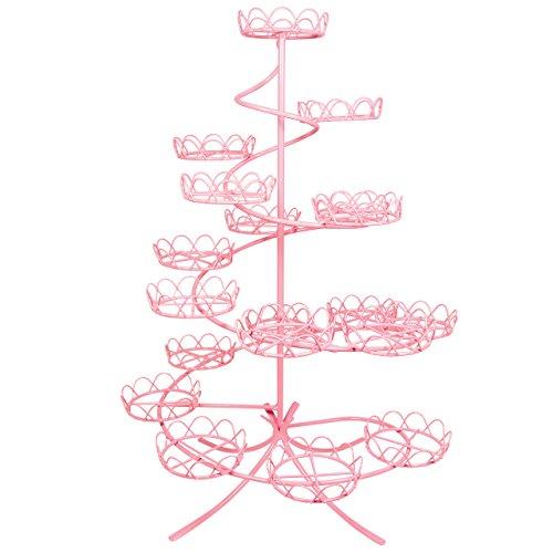 PME CS1006 Présentoir à Cupcakes Rose à Spirale, Acier Inoxydable, Pink, 32 x 32 x 46 cm