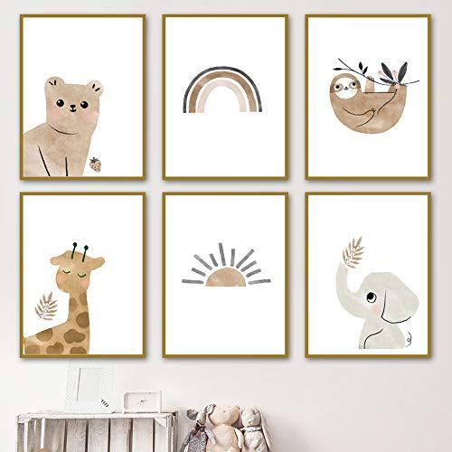 lulupila Bilder Kinderzimmer Deko Poster Babyzimmer Wohnzimmer A4 Kinderposter Kinderbilder Tiere Tiermotive Waldtiere für Kinder Junge Mädchen (6er Set - V1)