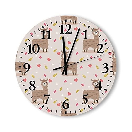 Reloj de pared de madera, 15 pulgadas, funciona con pilas, linda llama en flor rosa dulce, reloj de pared de madera, silencioso, no hace tictac, para niños, cocina, oficina, sala de estar, decoración