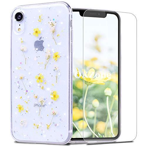 OKZoneCoque iPhone XR (6,1 Pouces) [avecFilmdeProtectionécranHD],[RéelSéchéesFloral]FaitàlaMainRéelSéchéesFloralClairDouxCaoutchoucHousseEtuideProtectionpour (Jaune)