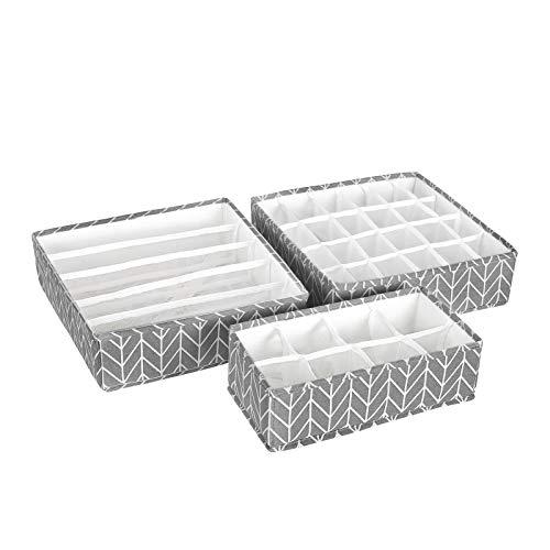 SONGMICS Aufbewahrungsbox für Unterwäsche, Schubladen-Organizer, Faltbare Stoffbox für Socken, BHS und Krawatten, Faltbox für Kleiderschrank, 3er Set, grau RTUS04G