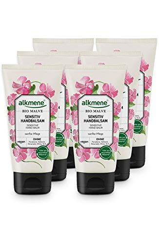 Alkmene Baume pour les mains à la mauve biologique - Crème pour les mains sensibles et sèches - sans silicones, parabènes, huiles minérales, PEGs, SLS