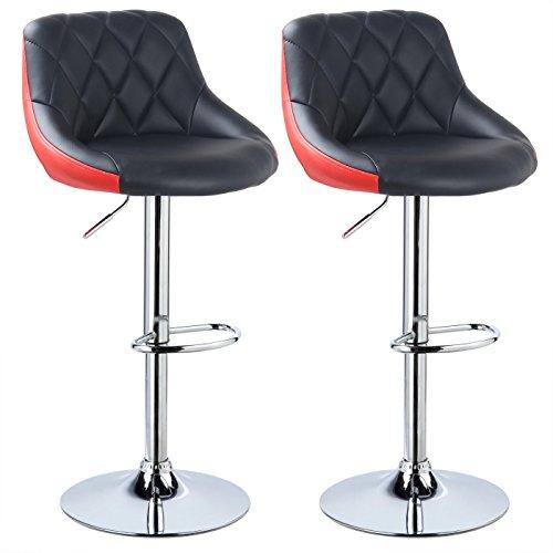 WOLTU BH30szr-2 Design 2 farbig Barhocker mit Griff, 2er Set, stufenlose Höhenverstellung, verchromter Stahl, Antirutschgummi, pflegeleichter Kunstleder, gut gepolsterte Sitzfläche, Schwarz+Rot