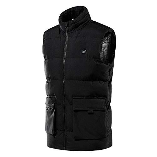 bjyxszd Aktualisiert Beheizbare Weste Elektrische Beheizte Jacke,Smart Ladeheizweste für Wintermänner, USB-sichere Heizweste mit konstanter Temperatur, Vier-Zonen-Heizung-schwarz_2XL