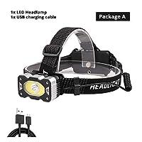 IRセンサーLEDヘッドランプXPG + COBスーパーブライトフィッシングヘッドライト4照明モード防水キャンプ18650バッテリー (Emitting Color : Package A)