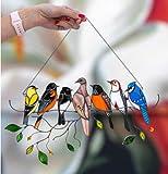 youfenghui Multicolor Birds On-a-Wire Panel De Ventana De Cazador De Sol De Vidrieras Altas, Adornos De La Serie Bird, Decoración del Hogar Colgante, Panel De Vidriera De Colores con Cadena (B)