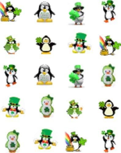 40 St (Patty's) Patrick's Day Penguins Nail Art Decal