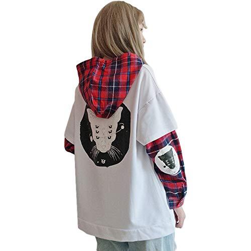 Damen Hoodies Harajuku Katze Plaid Ärmel Fake zweiteiliges Sweatshirt Gr. One size, weiß