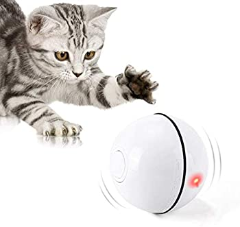 HOLOYO Cat Toy Balls Smart Interactive Cat Ball Toy,360 Degree Self Rotating Balls USB Rechargeable Automatic Rolling Ball Toy with LED Light for Cat Kitty Pet Entertainment Exercise White