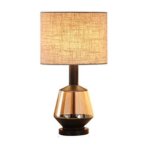 Lámpara de Cabecera Lámpara de mesa de cabecera, lámpara de mesa simple creativa, pantalla beige, cuerpo de lámpara de vidrio soplado artificial, sala de estar / dormitorio LLámpara de Noche