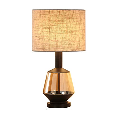 JINLIAN205-SHOP Lamparas de Mesita Lámpara de Mesa de Lujo Post-Moderna de Lujo Lámpara de mesita de Noche de Vidrio de algodón Beige Lámparas de mesilla (Color : B)