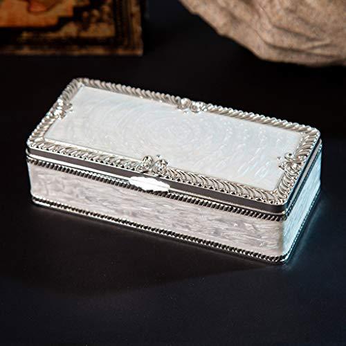 XKMY Joyero organizador de joyas retro grabado caja de almacenamiento rectangular baratijas organizador caso tesoro cofre plata u oro (color plata)