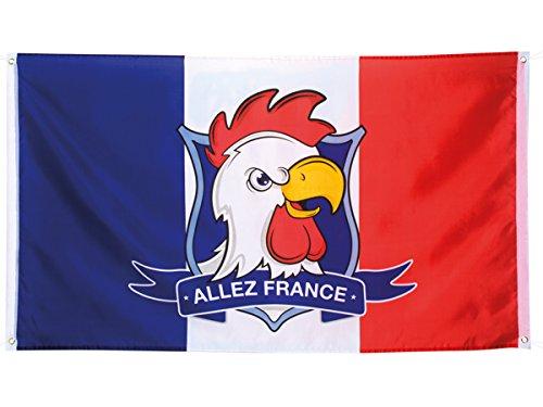 Drapeau bleu blanc rouge (62035) 150 x 90 cm Tête de Coq et l'inscription « Allez France » Accessoire et Décoration de Supporter FFF Foot Rugby Sport Les Bleus Tricolore 14 Juillet Fête Nationale