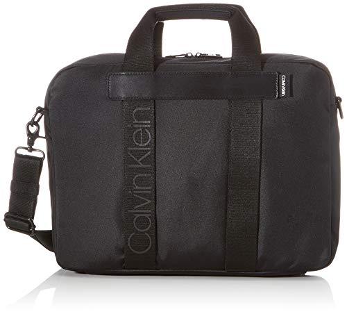 Calvin Klein NASTRO Logo Laptop Bag, Maletines para Hombre, Negro, OS