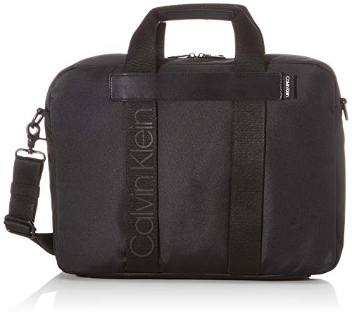 CALVIN KLEIN Men's NASTRO LOGO LAPTOP BAG Briefcases, Black, OS
