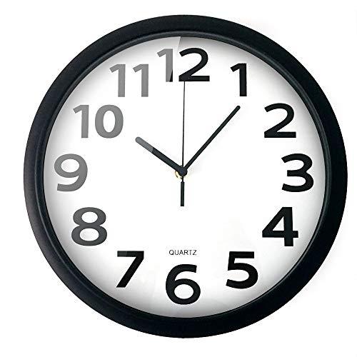 Reloj de pared sin tictac, blanco y negro, reloj de pared con mecanismo silencioso, de cuarzo decorativo, estilo moderno, adecuado para salón, cocina, dormitorio, oficina, funciona con pilas (30,5 cm)