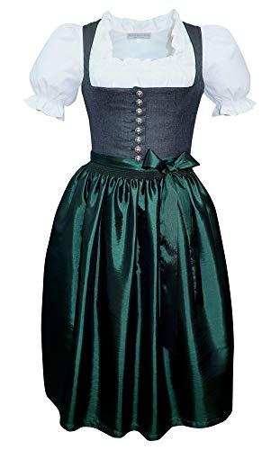 Kaiser Franz Josef Dirndl Mieder Trachten-Kleid Miederdirndl hochwertig Trachtenkleid Balkonett Dirndlkleid anthrazit grau dunkelgrau dunkelgrün mit TAFT Schürze grün Made in Austria, Größe:46