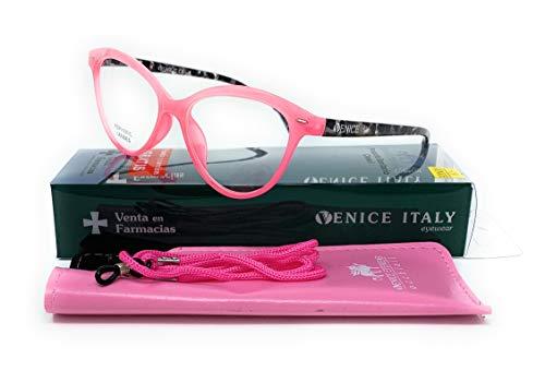 Gafas de lectura presbicia Mujer Diseño en Colores: Verde, Rojo, Rosa, Negro. VENICE Zenny - Dioptrías: 1 a 3,5 (Rosa, 1,00)