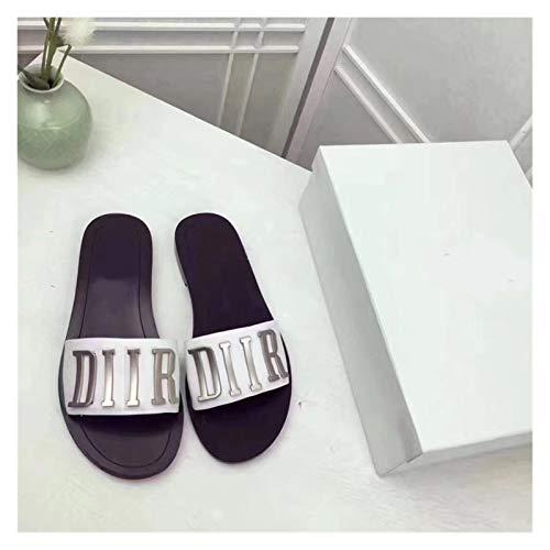 Youpin Zapatillas de verano con fondo plano para mujer, sandalias de verano con letras de metal europeas y americanas 34-42 (color: blanco, talla de zapato: 40)