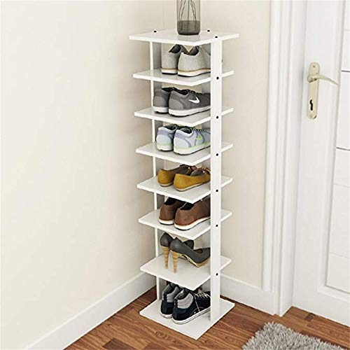 LMXJ Schuhschrank, mehrschichtiger einfacher Wohnzimmerschuhschrank, wirtschaftlicher Eckschuhschrank der Hauptmultifunktion, staubdichter einfacher moderner Schuhschrankspeicher, Weiß- / Holzfarbe
