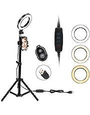 Lampa pierścieniowa LED, 6 cali, regulowany stojak na statyw, klips, pilot zdalnego sterowania, zestaw oświetlenia do makijażu, fotografii, transmisji na żywo, YouTube