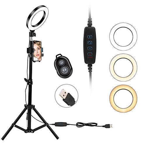 """LED Ringlicht, 6"""" Ring Light 3 Lichtfarben und 10 Helligkeitsstufen, Verstellbarer Stativstab, Handyhalterung Bluetooth-Fernbedienung Beleuchtungsset für Make-up, Fotografie, Live-Stream, YouTube"""