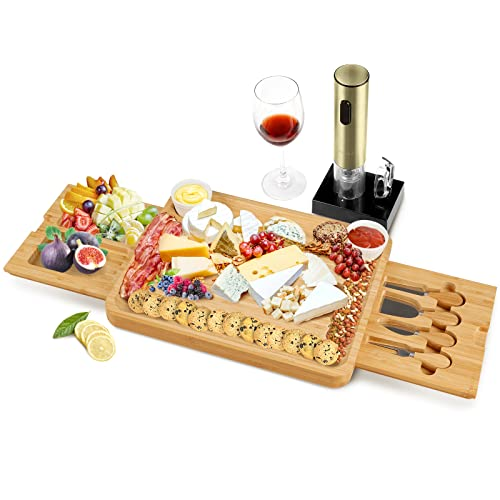 Secura Cheese Board Set Bamboo Charcuterie Board Platters Cheese Board Set with Knives and Ceramic Bowls for Housewarming Gift & Wedding Gift