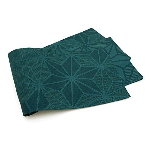 (ソウビエン) 半幅帯 Jouer ete couleur 深緑色 グリーン 麻の葉 細帯 半巾帯 小紋 紬 浴衣 着物 日本製