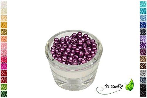 100 Perlen 6mm Pflaume 473 // Kuststoff Bastelperlen Drahtsterne Wachsperlen Perlenkette