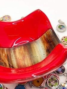 Mondo Italiano Firenze Centro de mesa de cristal de Murano colores Murano rojo y marrón