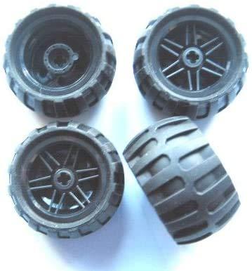LEGO Technic 56145 / 61481 - Juego de 4 ruedas con llanta en negro para técnica (43,2 x 26)