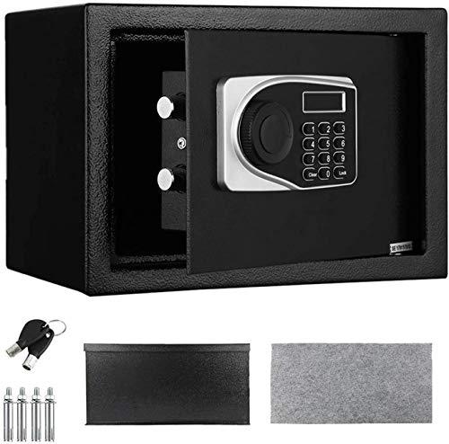 Casulo Caja Fuerte Electrónica 35 x 25 x 25 cm, 16L Caja de Seguridad de Acero, Caja Fuerte Digital con Llave y Teclado, Negro