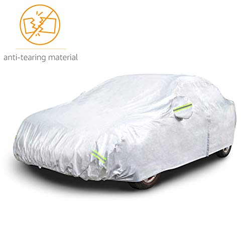 AmazonBasics Silver Weatherproof Car Cover - 150D Oxford, Sedans up to 160""
