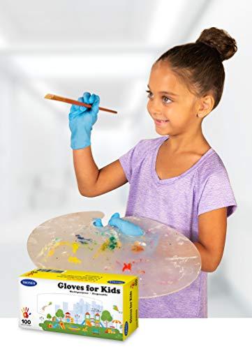 Tronex Kids Nitrile Disposable Gloves for 7-14 Years, Food Safe, Multipurpose, Fingertip-Textured, Powder-Free (100)