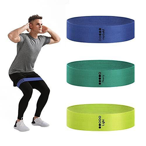 YUNMAI Gymnastikbänder aus Stoff, rutschfest, elastisch, mit Tasche, leicht, tragbar für Widerstandstraining, Heimtraining, Yoga, Physiotherapie, 3 Stück