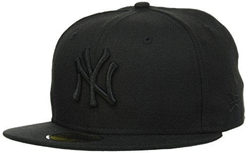 New Era MLB Basic NY Yankees 59Fifty Fitted Gorra, Black on Black, 7 1/4inch-58cm para Hombre