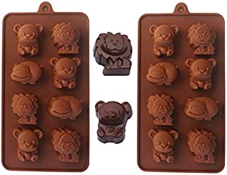 2pcs Small Candy Chocolate Molds Silicone Ice Mold Non-stick Baking Molds Cute Animal Bear Lions Leos Jelly Molds Pack of 2