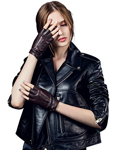 YISEVEN Damen Fingerlose Schaffell Lederhandschuhe Halbfinger Autofahrer-Handschuhe Winter Leder, Braun XXL/8.5