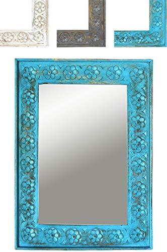 Orient Spiegel Wandspiegel Ishtar 44cm groß Blau   Großer Marokkanischer Flurspiegel   Holzrahmen orientalisch geschnitzt   Orientalischer Vintage Badspiegel ohne Beleuchtung als Orientalische Deko