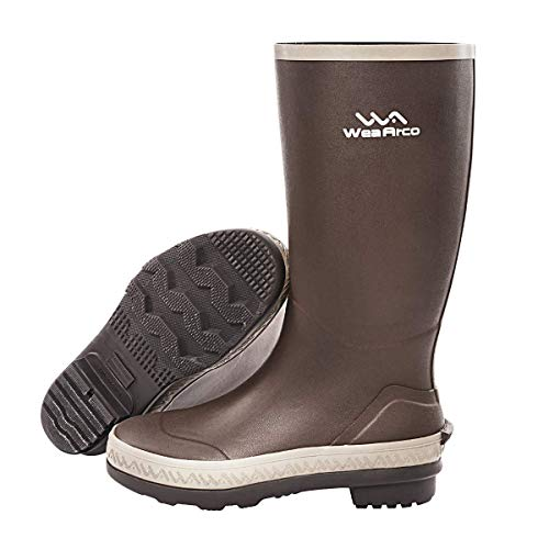 WeaArco Rubber Rain Boots for Men Waterproof Mud Work Shoes Durable Knee Boots for Adult Farming Fly Fishing or Duck Hunting 15inch (US10)