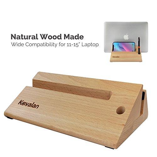 Kavalan Vertikaler Laptop-Ständer, aus Holz, mit Handy- und Stifthalter, umweltfreundlich, platzsparend, passend für alle Apple MacBook, HP, Dell