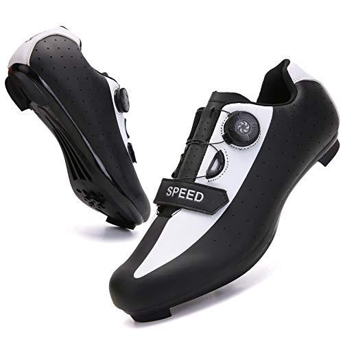 Zapatillas de Ciclismo para Hombres y Mujeres - Calzado Giratorio para Montar en Carretera con Hebilla Transpirable Calzado de Ciclismo para Interiores Compatible con SPD Bicicletas