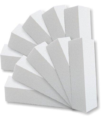 Blocco levigatore unghie, 10 pezzi, 4 lati, granulosità 100/100, colore: bianco