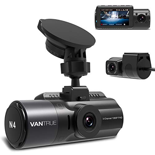 Vantrue N4 Three Way Dash Cam 3 Channel 1440P Front, 1080P Inside, 1080P Rear Triple Car Dash Camera, Infrared Night Vision, Super Capacitor, 24 Hours Parking Mode, Motion Detection, Support 256GB Max