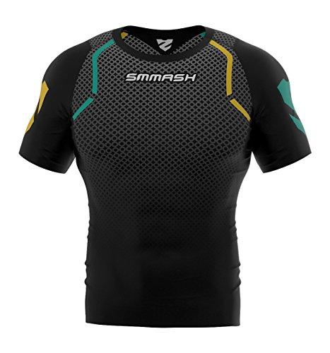 SMMASH Camiseta básica de compresión de manga corta para hombre, camiseta funcional, corta, transpirable y ligera para crossfit, montañismo, Ocr, Slim Fit, fabricada en la UE (M)