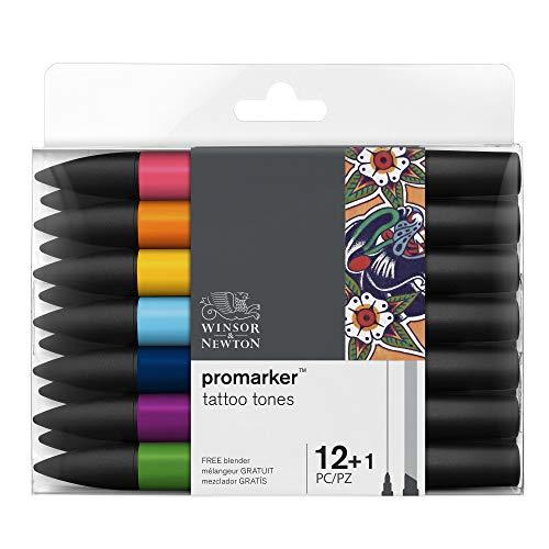 Winsor & Newton 0290162 ProMarker, Professioneller Layoutmarker - 2 Spitzen, fein und breit für Zeichnungen, Design und Layouts - Tattoo Set 13 Stifte